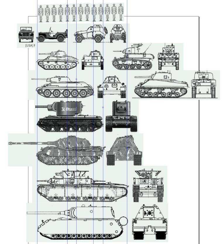 сравнительные размеры человеков и техники