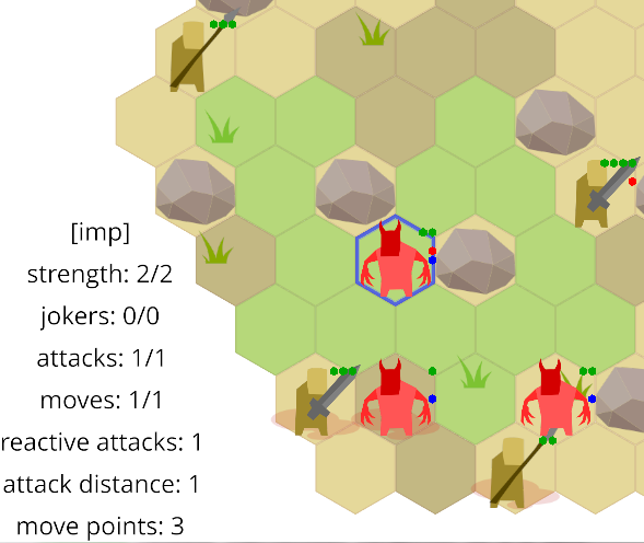 info panel showing imp's stats using text