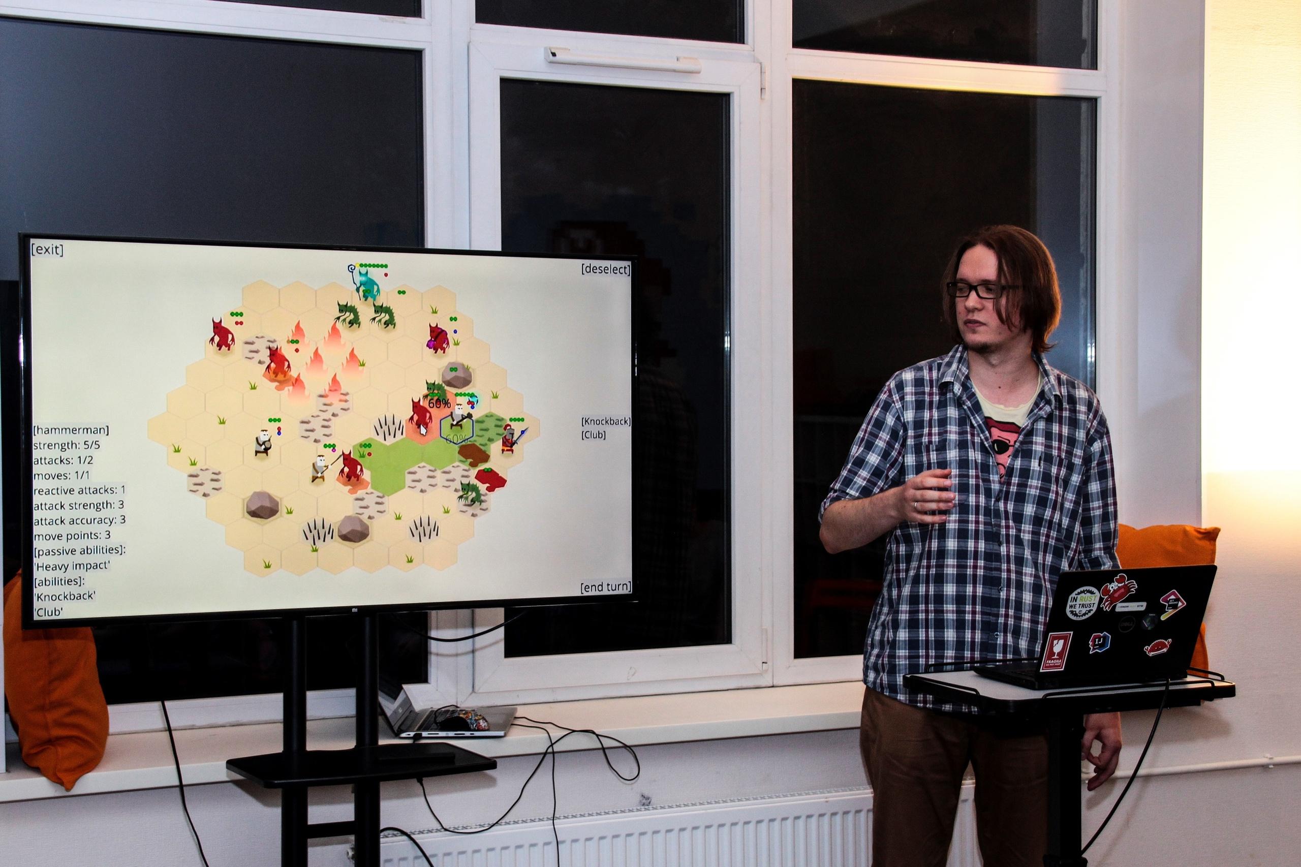 me presenting Zemeroth at Indikator