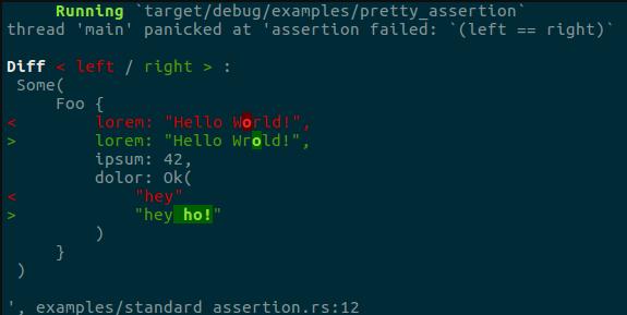a colored assert error